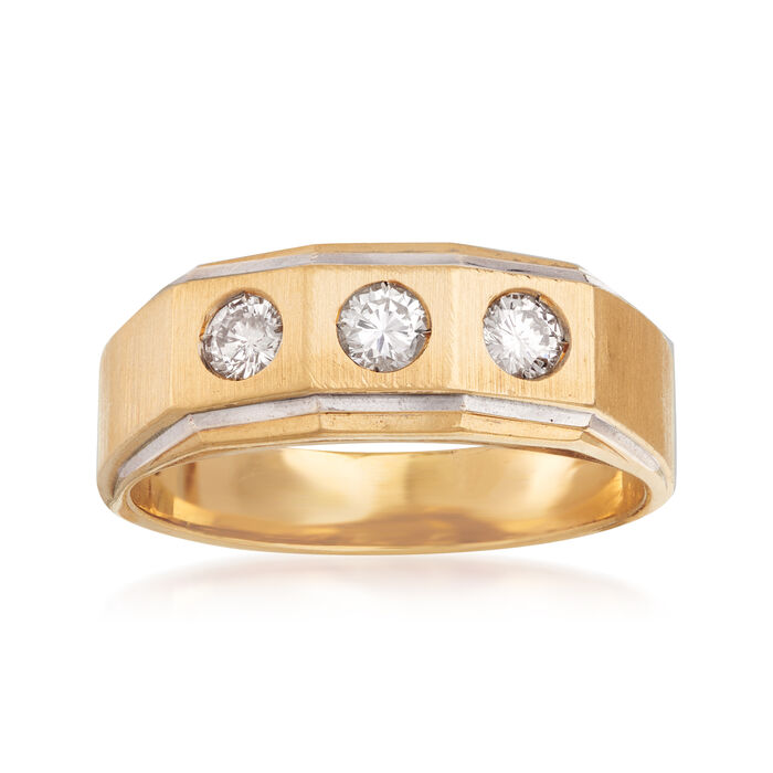 C. 1970 Vintage Men's .75 ct. t.w. Diamond Ring in 14kt Yellow Gold. Size 12.5, , default