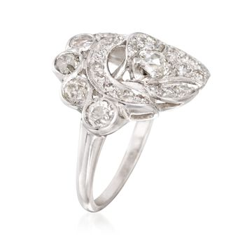 C. 1980 Vintage 1.50 ct. t.w. Diamond Ring in 14kt White Gold. Size 7.75