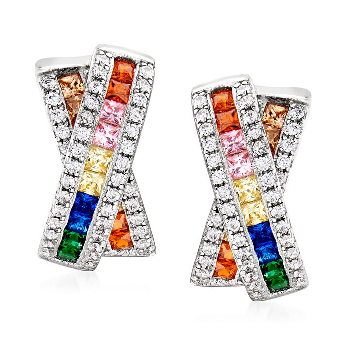 2.40 ct. t.w. Multicolored Simulated Sapphire and .85 ct. t.w. CZ X-Shaped Earrings in Sterling Silver, , default