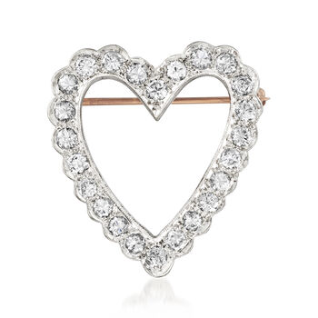 "C. 1970 Vintage 1.45 ct. t.w. Diamond Heart Pin Pendant in 14kt White Gold. 18"", , default"