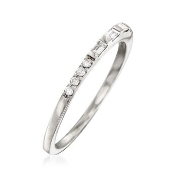 .16 ct. t.w. Baguette and Round Diamond Ring in 14kt White Gold, , default