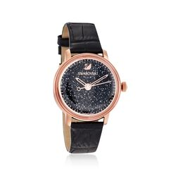 "Swarovski Crystal ""Crystalline"" Women's 38mm Black Crystal Watch in Rose Gold Plate , , default"