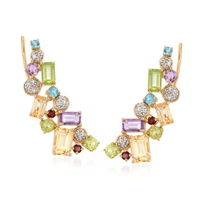 3.40 ct. t.w. Multi-Stone Ear Crawlers in 18kt Gold Over Sterling, , default