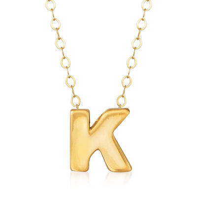 """14kt Yellow Gold Uppercase """"K"""" Initial Necklace, , default"""