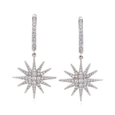 .76 ct. t.w. CZ Star Drop Earrings in Sterling Silver, , default