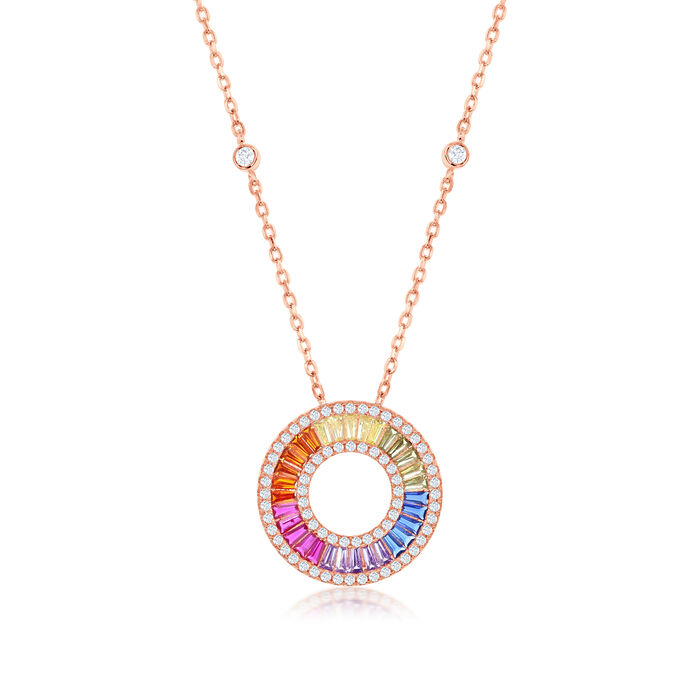 Simulated Sapphire and .70 ct. t.w. CZ Rainbow Pendant Necklace in 18kt Rose Gold Over Sterling. 16""