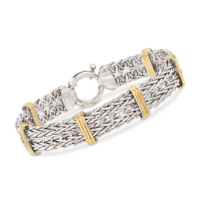 Two-Tone Double Wheat-Link Bracelet in Sterling Silver and 14kt Gold Over Sterling, , default