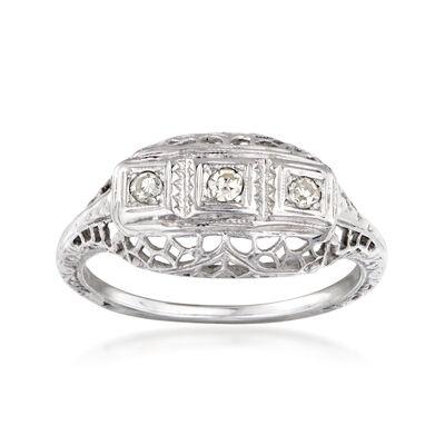 C. 1940 Vintage .12 ct. t.w. Diamond Three-Stone Filigree Ring in 18kt White Gold