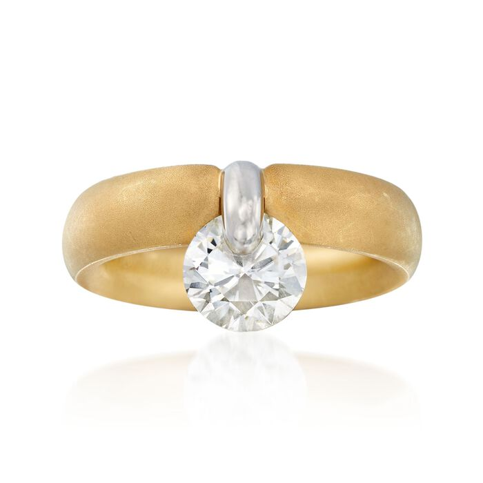 C. 2000 Vintage 1.50 Carat Diamond Drop Ring in Platinum and 18kt Gold. Size 5.5
