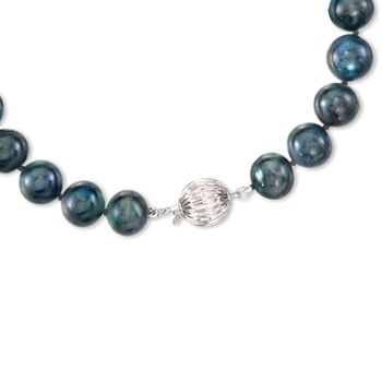 11-12mm Black Cultured Pearl Necklace With 14kt White Gold, , default