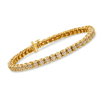 1.00 ct. t.w. Diamond Tennis Bracelet in 18kt Gold Over Sterling