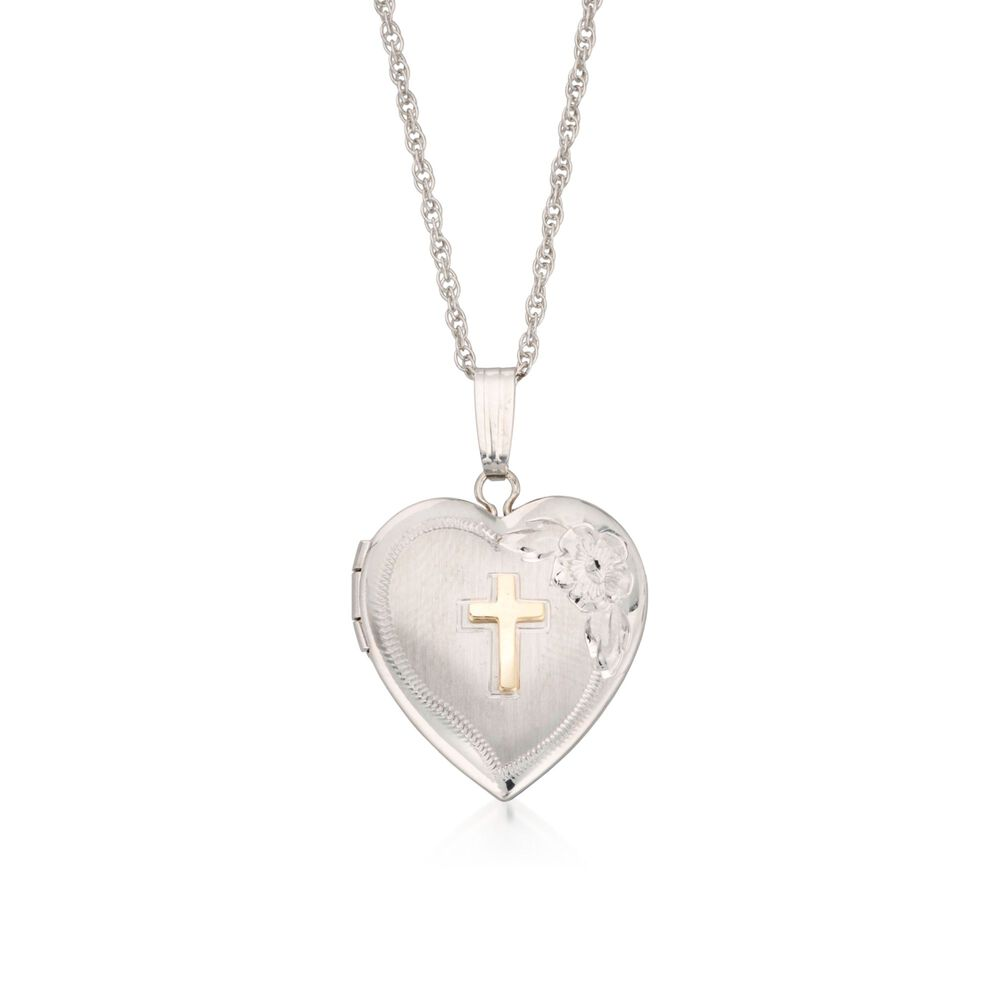 """56f14a7a124df9 Sterling Silver Heart Locket Necklace with 14kt Yellow Gold Cross.  18"""", , default"""