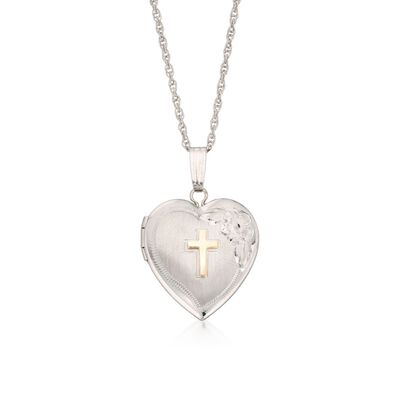 Sterling Silver Heart Locket Necklace with 14kt Yellow Gold Cross, , default
