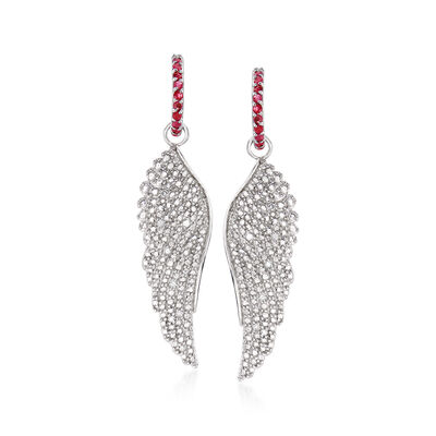 1.30 ct. t.w. Ruby and .10 ct. t.w. Diamond Angel Wing Drop Earrings, , default