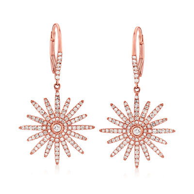 .75 ct. t.w. Diamond Starburst Drop Earrings in 18kt Rose Gold