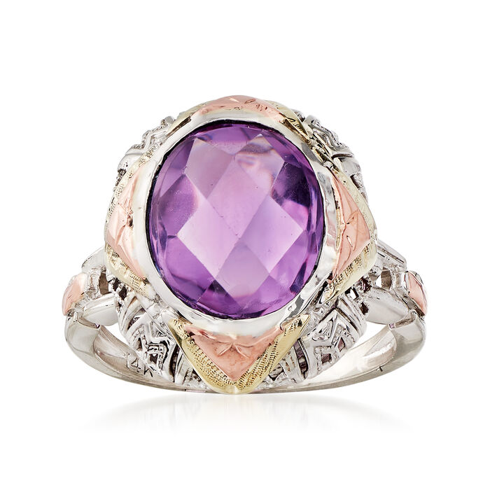 C. 1950 Vintage 3.50 Carat Amethyst Ring in 14kt Two-Tone Gold. Size 5.5, , default