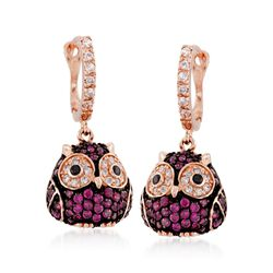 Simulated Ruby and .57 ct. t.w. Multicolored CZ Owl Drop Earrings in 18kt Rose Gold Over Sterling, , default