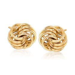 Italian 14kt Yellow Gold Open Love Knot Earrings, , default