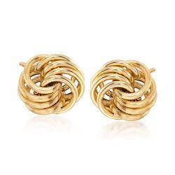 Italian 14kt Yellow Gold Open Love Knot Earrings, , default