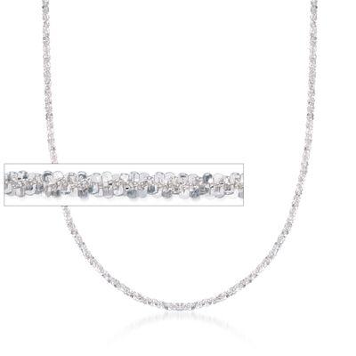 Italian 2mm Sterling Silver Crisscross Chain Necklace