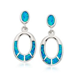 Blue Synthetic Opal Oval Drop Earrings in Sterling Silver, , default
