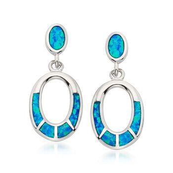 Blue Synthetic Opal Oval Drop Earrings in Sterling Silver, , default