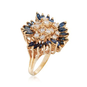 C. 1970 Vintage 2.40 ct. t.w. Sapphire and 1.10 ct. t.w. Diamond Floral Cluster Ring in 14kt Yellow Gold. Size 7, , default