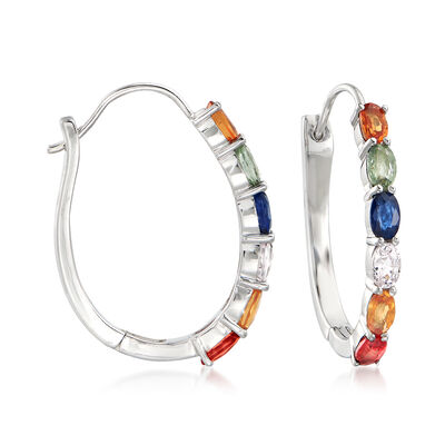 3.60 ct. t.w. Multicolored Sapphire Hoop Earrings in Sterling Silver, , default