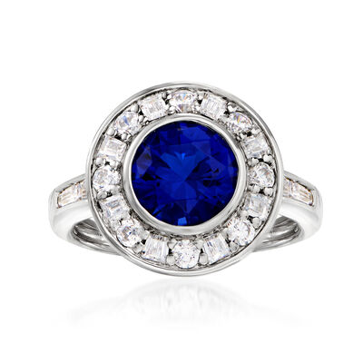 1.90 Carat Simulated Sapphire and .70 ct. t.w. CZ Halo Ring in Sterling Silver