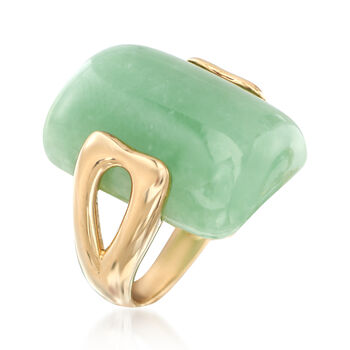 Rectangular Green Jade Ring in 14kt Yellow Gold, , default