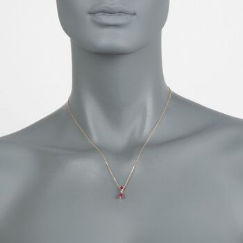 """.80 ct. t.w. Ruby Necklace With Diamond Accent in 14kt Yellow Gold. 16"""", , default"""