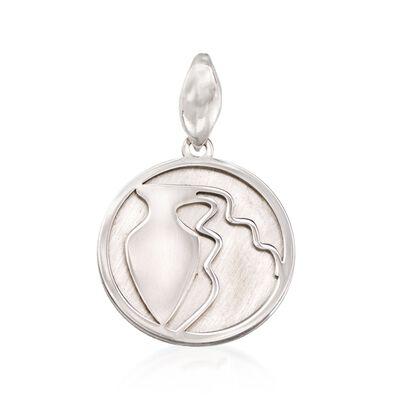 Italian Sterling Silver Aquarius Zodiac Pendant, , default
