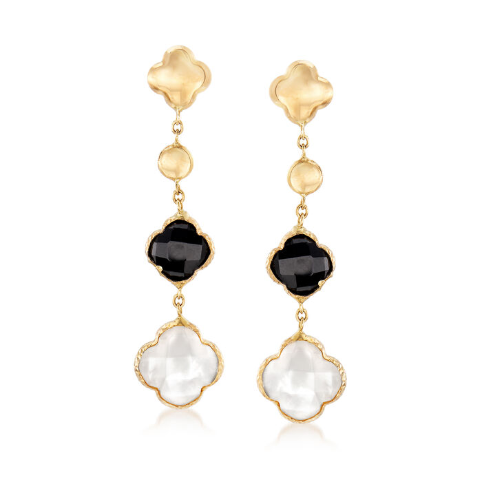 Black Clover Onyx and Mother-Of-Pearl Drop Earrings in 14kt Yellow Gold, , default