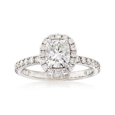C. 2005 Vintage 1.58 ct. t.w. Diamond Halo Engagement Ring in Platinum, , default