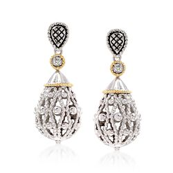 "Andrea Candela ""La Corona"" Sterling Silver and 18kt Yellow Gold Teardrop Earrings With Diamond Accents, , default"