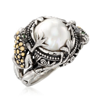 12mm Mabe Pearl Frog Ring in Sterling Silver with 18kt Gold, , default