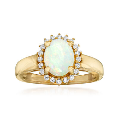Opal and .20 ct. t.w. Diamond Ring in 14kt Yellow Gold, , default