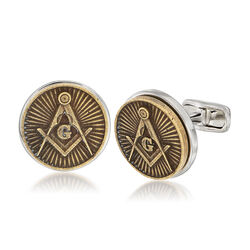 Men's Masonic Square and Compasses Coin Cuff Links in Sterling Silver, , default