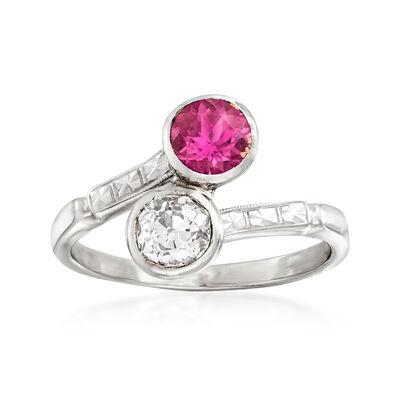 C. 1950 Vintage .55 Carat Pink Tourmaline and .45 Carat Diamond Bypass Ring 14kt White Gold