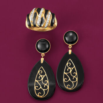 Black Onyx Drop Earrings with 14kt Yellow Gold, , default