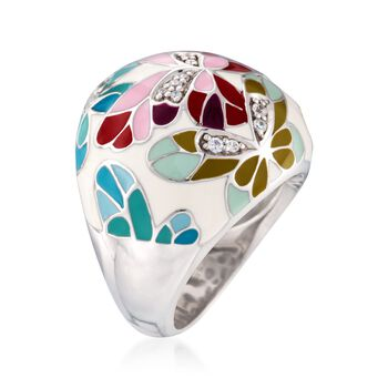 "Belle Etoile ""Butterfly Kisses"" .15 ct. t.w. CZ and Ivory Enamel Ring in Sterling Silver. Size 6, , default"