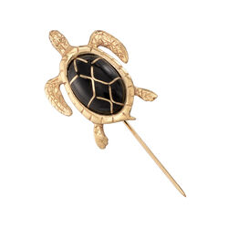 C. 1970 Vintage Black Enamel Turtle Pin in 14kt Yellow Gold, , default