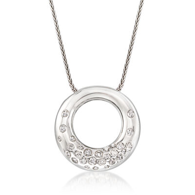 C. 1990 Vintage .70 ct. t.w. Diamond Circle Necklace in 18kt White Gold