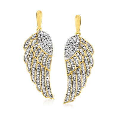 .37 ct. t.w. Diamond Angel Wing Drop Earrings in 18kt Gold Over Sterling