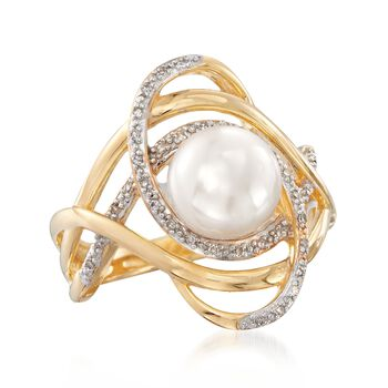 8-8.5mm Cultured Pearl and .10 ct. t.w. Diamond Swirl Ring in 18kt Gold Over Sterling, , default