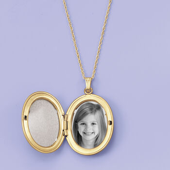 14kt Yellow Gold Oval Locket Necklace, , default