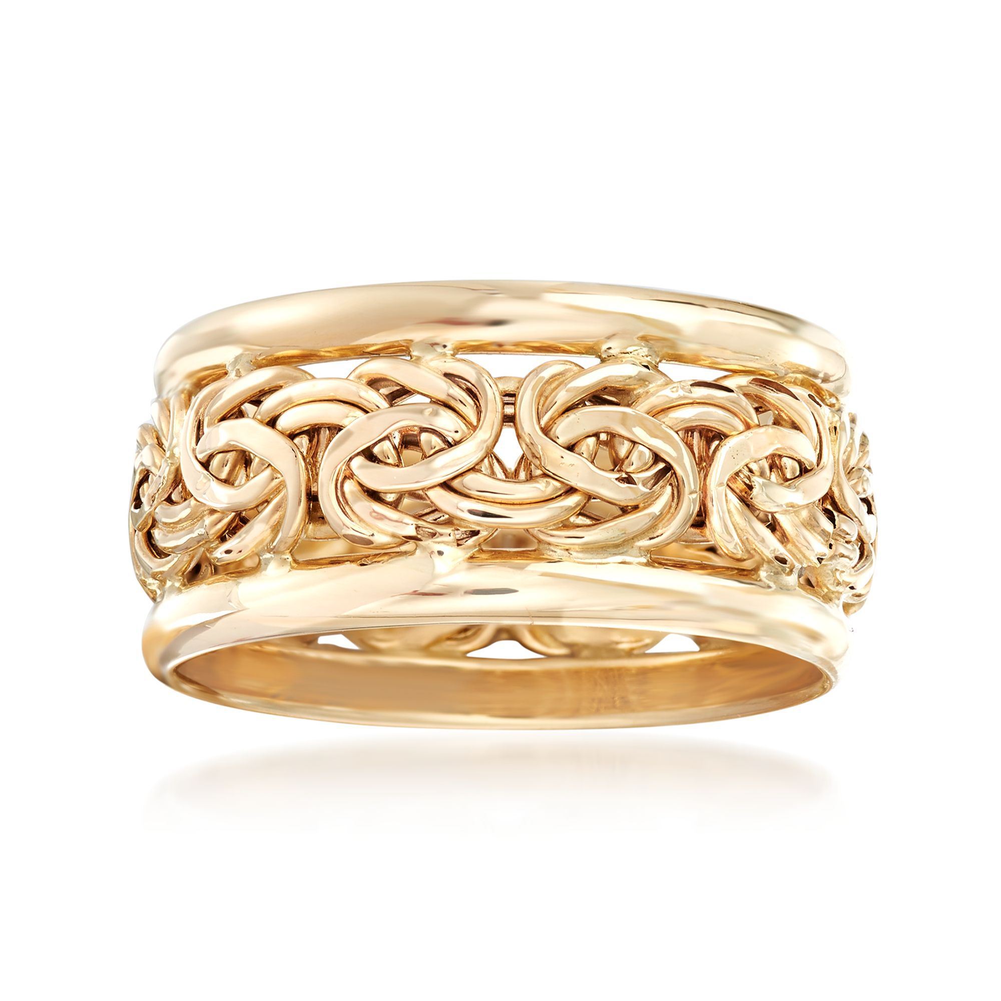 Stainless Steel 2 Color Affirmation-Love Criss-Cross Interlocking Celtic Wedding Band Ring