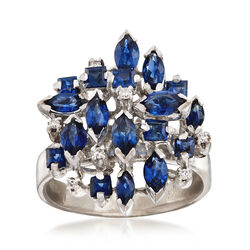 C. 1970 Vintage 3.00 ct. t.w. Sapphire Cluster Ring With Diamond Accents in 18kt White Gold, , default