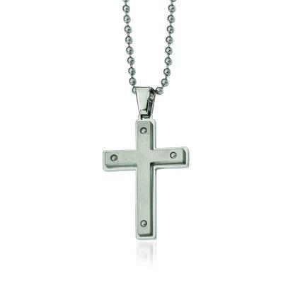 "Men's Stainless Steel Brushed Cross Pendant Necklace. 24"", , default"