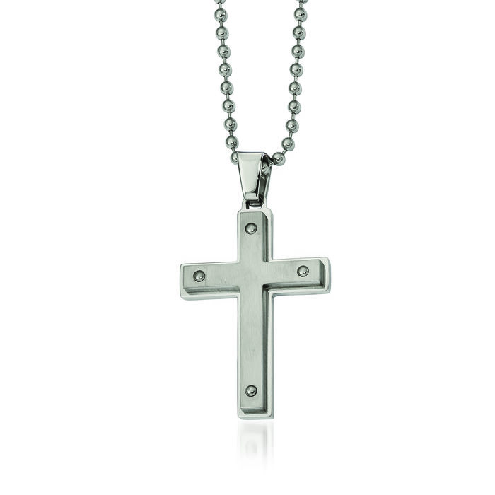 "Men's Stainless Steel Brushed Cross Pendant Necklace. 24"", , default"